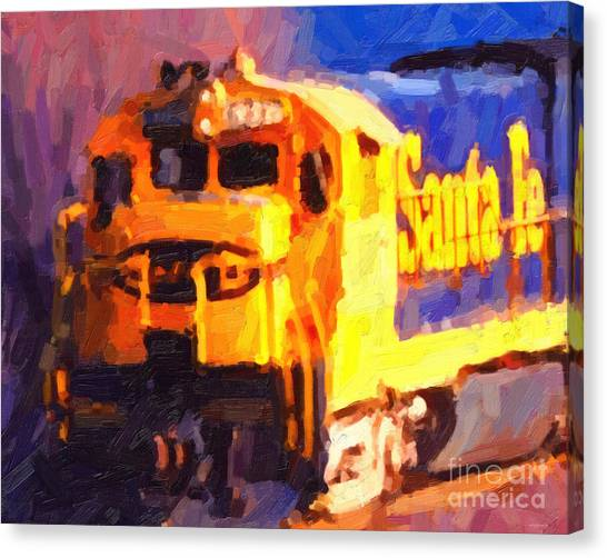 Yellow Sante Fe Locomotive Canvas Print by Wingsdomain Art and Photography