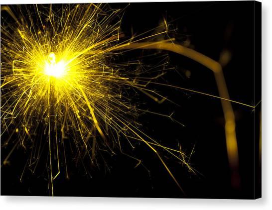 Fireworks Canvas Print - Yellow Sparkle by Samuel Whitton