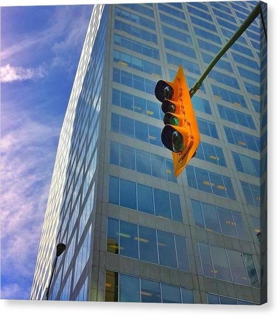 Stoplights Canvas Print - #yellow #stoplight #snapseed #urban by Andrei Filippov