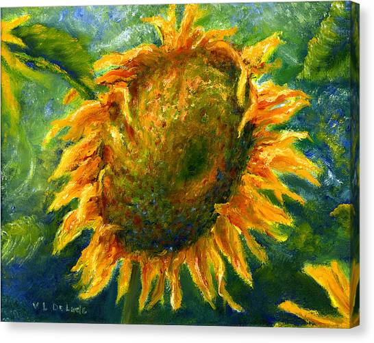 Yellow Sunflower Art In Blue And Green Canvas Print