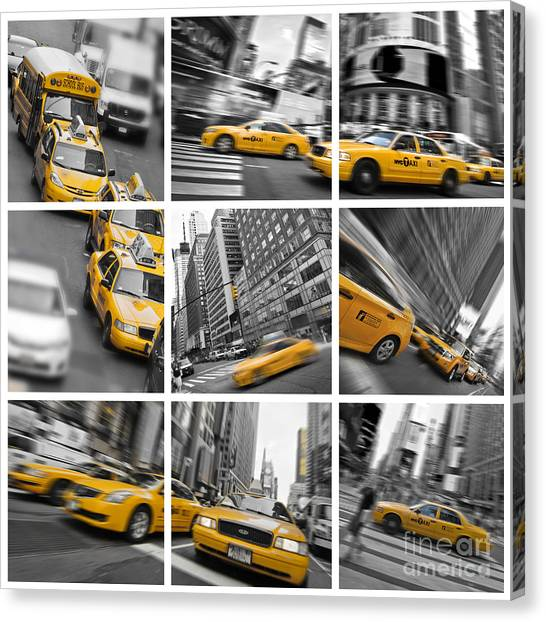 Mosaic Canvas Print - Yellow Taxis Collage by Delphimages Photo Creations