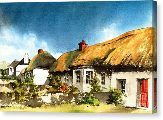 Yellow Thatch In Adare  Limerick Canvas Print