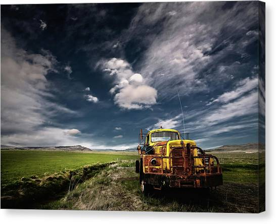 Old Trucks Canvas Print - Yellow Truck by ?orsteinn H. Ingibergsson