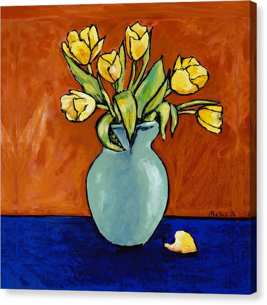 Yellow Tulips In A Turquoise Vase Canvas Print