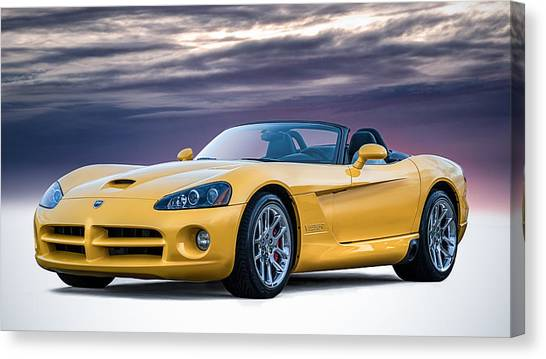 Viper Canvas Print - Yellow Viper Convertible by Douglas Pittman