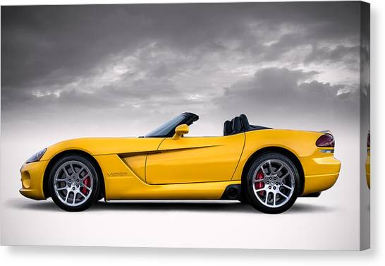 Viper Canvas Print - Yellow Viper Roadster by Douglas Pittman