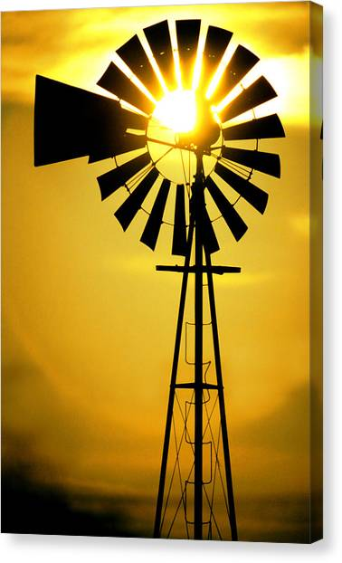 Wind Farms Canvas Print - Yellow Wind by Jerry McElroy