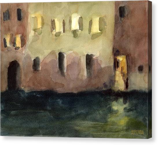 Earth Canvas Print - Yellow Windows At Night Watercolor Painting Of Venice Italy by Beverly Brown