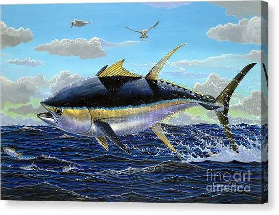 Tuna Canvas Print - Yellowfin Crash Off0081 by Carey Chen