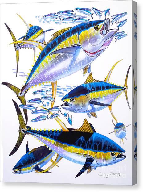 Tuna Canvas Print - Yellowfin Run by Carey Chen