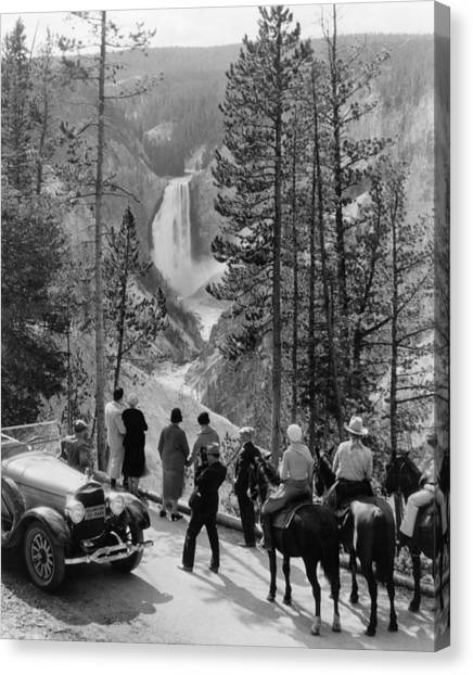 Great Falls Of Yellowstone Canvas Print - Yellowstone Canyon, C1932 by Granger