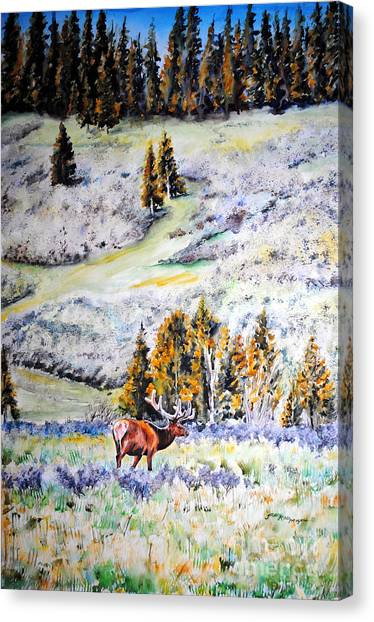 Yellowstone Elk Canvas Print by Tracy Rose Moyers