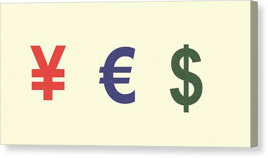 Yen Canvas Print - Yes Money Minimalist Poster by Celestial Images