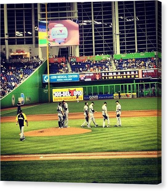 Miami Marlins Canvas Print - Yes, We Are Losing To The by Hilary Solack