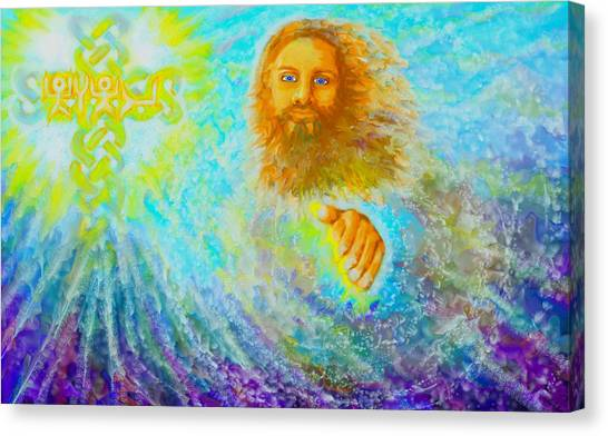 Canvas Print featuring the painting Yhshuwh Savior by Hidden  Mountain