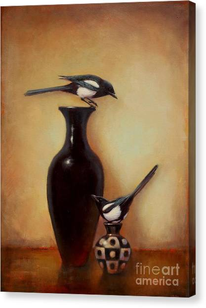 Magpies Canvas Print - Yin Yang - Magpies  by Lori  McNee