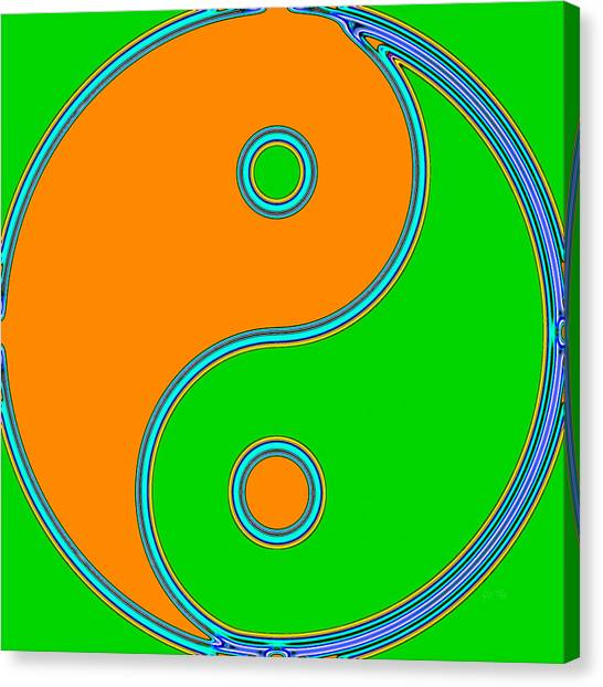 Yin Yang Orange Green Pop Art Canvas Print