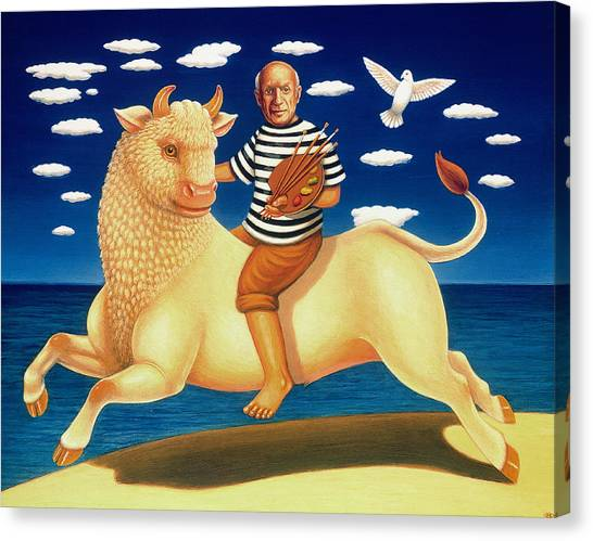 Bull Riding Canvas Print - Yo Picasso, 2003 Oil & Tempera On Panel by Frances Broomfield