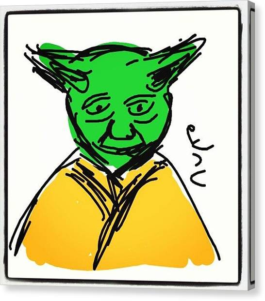 Yoda Canvas Print - #yoda #cartoon #caricatures #sketch by Nuno Marques