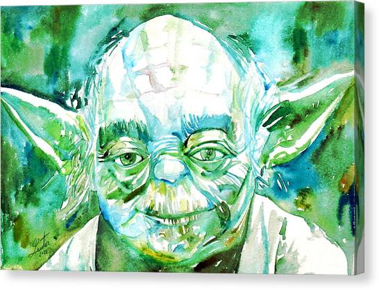 Jedi Canvas Print - Yoda Watercolor Portrait by Fabrizio Cassetta