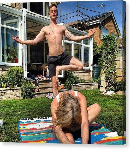 Yogi Canvas Print - #yoga #practise #photobomb @mrped by Baz Twyman