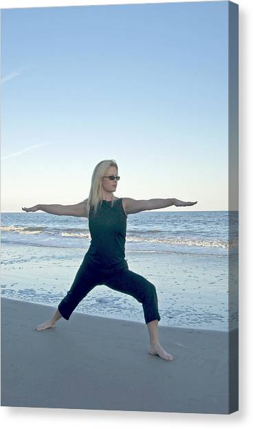 Yoga Woman On The Beach Canvas Print