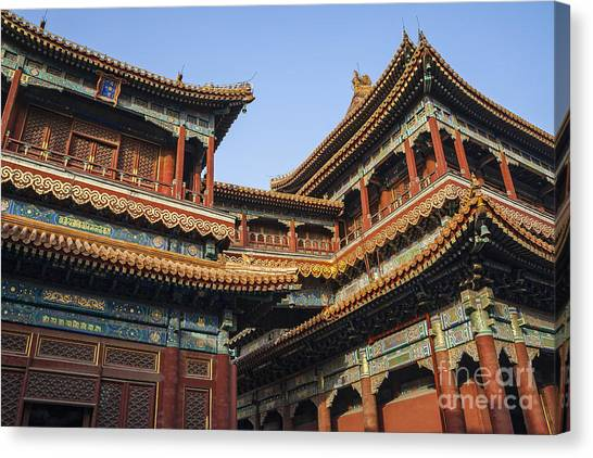 Canvas Print featuring the photograph Yonghe Temple Aka Lama Temple In China by Bryan Mullennix