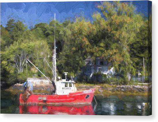 Harbor Canvas Print - York Harbor Maine Painterly Effect by Carol Leigh
