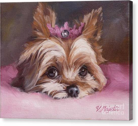 Yorkshire Terrier Princess In Pink Canvas Print
