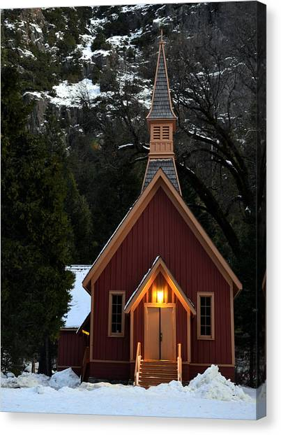 Yosemite Chapel Canvas Print