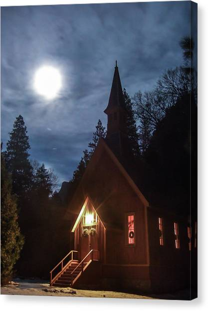 Yosemite Chapel Under A Full Moon Canvas Print