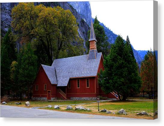 Yosemite Fall  Chapel  Canvas Print