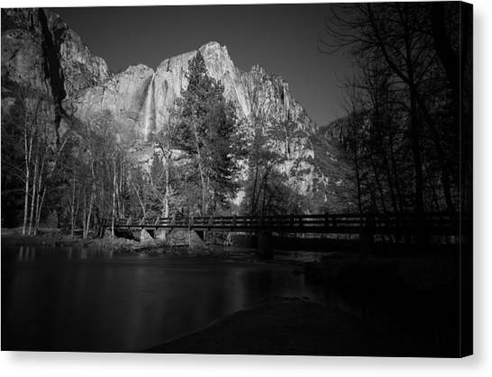 Yosemite Falls Canvas Print - Yosemite Falls Along The Merced River Black And White by Scott McGuire