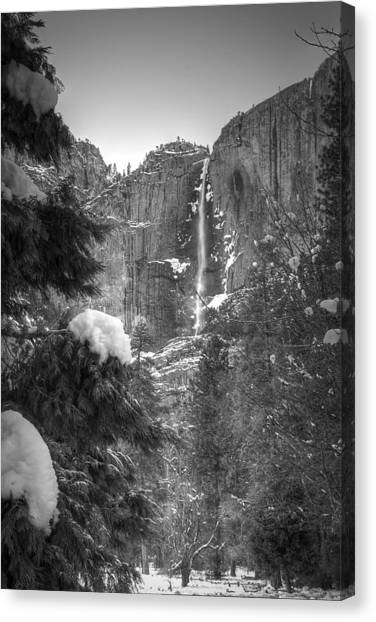 Yosemite Falls In Winter Canvas Print