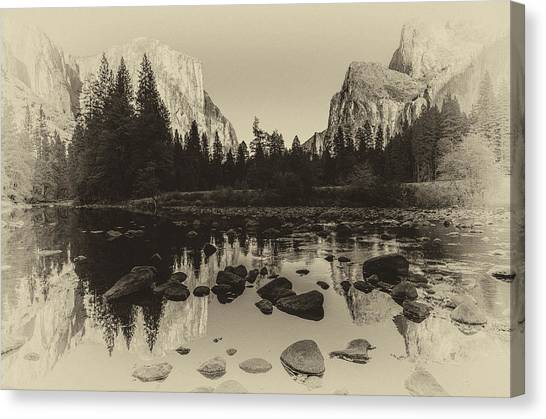 Ansel Adams Canvas Print - Yosemite National Park Valley View Antique Print   by Scott McGuire