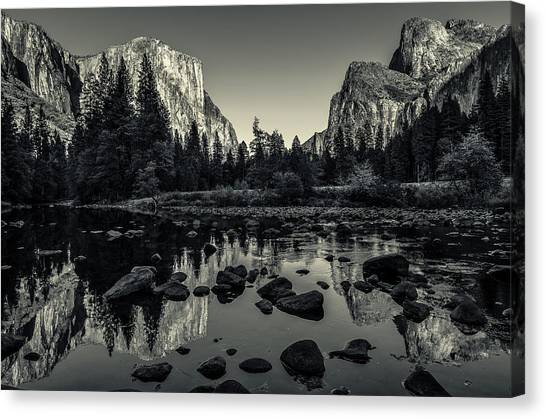 Cathedral Rock Canvas Print - Yosemite National Park Valley View Reflection by Scott McGuire