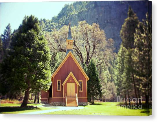 Rustic Canvas Print - Yosemite Valley Chapel Lomo by Jane Rix