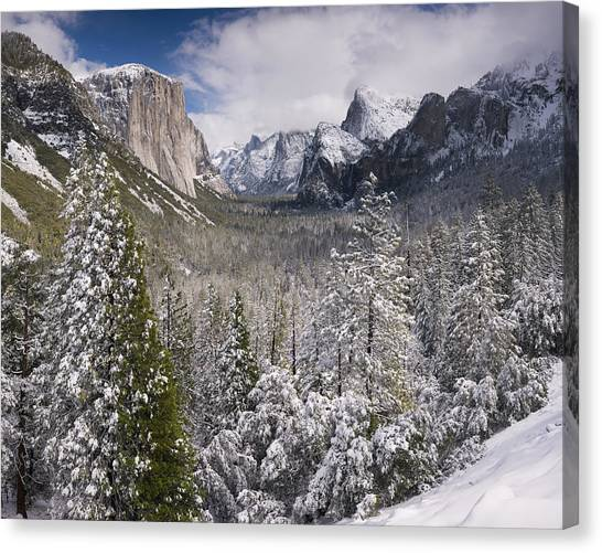 Yosemite Valley In Winter Canvas Print