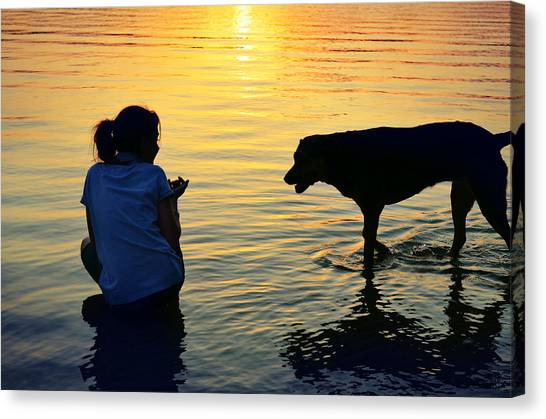 Children And Dog Canvas Print - You And Me by Laura Fasulo