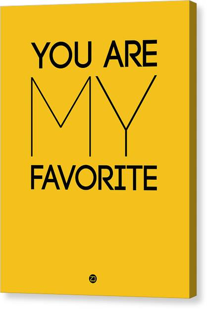 Hips Canvas Print - You Are My Favorite Poster Yellow by Naxart Studio