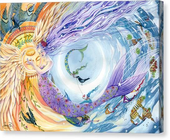 Angel Mermaids Ocean Canvas Print - You Are The Sun I Am The Moon by Sara Burrier