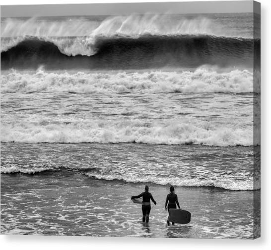 Bodyboard Canvas Print - You Go First by Nigel R Bell