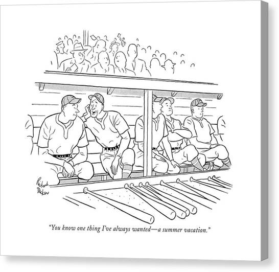 Baseball Players Canvas Print - You Know One Thing I've Always Wanted - A Summer by Richard Decker