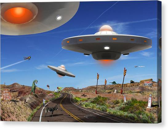 Ufo Canvas Print - You Never Know . . . 5 by Mike McGlothlen
