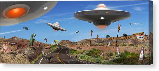 Ufo Canvas Print - You Never Know . . . Panoramic by Mike McGlothlen