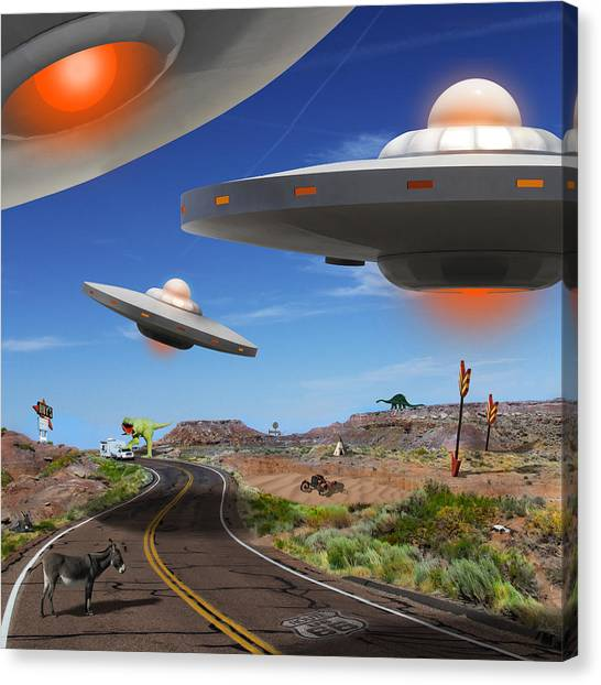 Ufo Canvas Print - You Never Know What You Will See On Route 66 2 by Mike McGlothlen