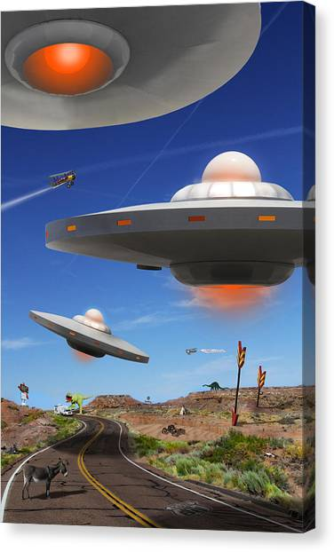 Ufos Canvas Print - You Never Know What You Will See On Route 66 by Mike McGlothlen