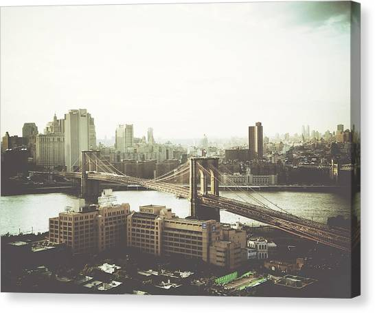 You'll Miss Her Most When You Roam ... Cause You'll Think Of Her And Think Of Home ... The Good Old Brooklyn Bridge Canvas Print