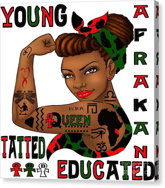Young Afrakan Tatted And Educated Canvas Print by Respect the Queen