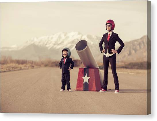 Young Boy And Woman Business Team With Canvas Print by Richvintage
